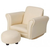 Beige Rocking Upholstered Chair with Ottoman