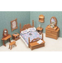 Wood Dollhouse Furniture Kits - The Bedroom Furniture