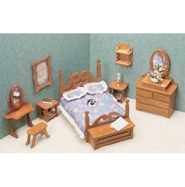 Wood Dollhouse Furniture Kits - The Bedroom Furniture - 7201-Bedroom-360x365.jpg
