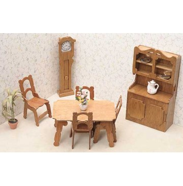 Wood Dollhouse Furniture Kits - The Dining Room Furniture - 7202-Dining-Room-360x365.jpg