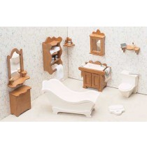 Wood Dollhouse Furniture Kit - The Bathroom Furniture