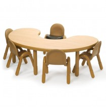 Angeles BaseLine Kidney Table With Chairs - Natural
