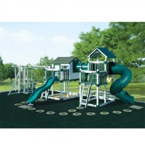 Swing Kingdom Tunnel Escape Playhouse Vinyl Swing Set - 4 Color Options