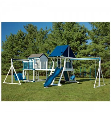 Vinyl Swing Set C8 Bridge Escape by Swing Kingdom  - White & Blue - C8pWhite-Blue-360x365.jpg