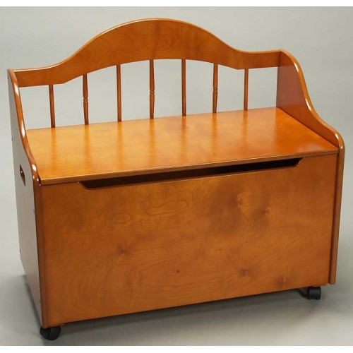 Deacon Style Toy Chest Bench On Casters In Honey
