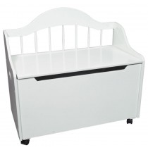 Deacon Style Toy Chest & Bench on Casters in White