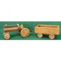 Handmade Wood Toy Farm Tractor and Wagon