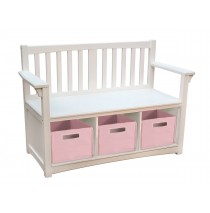 Guidecraft Classic White Storage Bench with Baskets