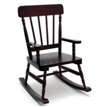 Lipper High Back Pine Rocker - Espresso Rocking Chairs