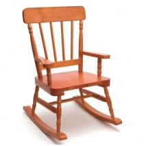 Lipper High Back Pine Rocker - Pecan Rocking Chairs