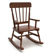 Lipper High Back Pine Rocker - Walnut Rocking Chairs