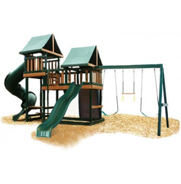 Kidwise Congo Monkey Playsystems #3 Swing Set Green & Sand - KidWise-Monkey-Green-360x365.jpg