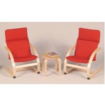 Kiddie Rocker Table & Chair Set in Red by Guidecraft