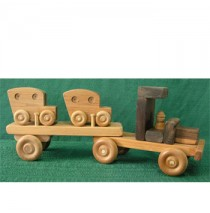Large Wood Toy Car Carrier with Two Cars
