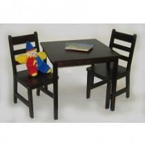Lipper Child's Square Table & 2 Chairs Set - Espresso