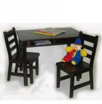 Lipper Child's Rectangle Table & 2 Chairs Set - Espresso