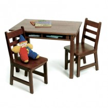 Lipper Child's Rectangle Table & 2 Chairs Set - Walnut