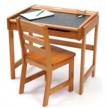 Lipper Child's Desk With Chalkboard Top & Chair - Pecan
