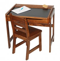 Lipper Child's Desk With Chalkboard Top & Chair - Walnut