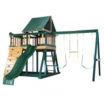 Kidwise Congo Monkey Playsystems  #1 Swing Set in Green & Brown - Monkey-1-WonderWaveSlide-360x365.jpg