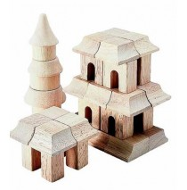 Oriental Block Set Table Top Building Blocks 42 Pcs by Guidecraf