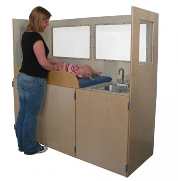 Strictly for Kids Mainstream Changing Station, steel sink, w/Lexan Vision Panels, 66''w x 24''d x 60''h - SF430VP-360x365.jpg