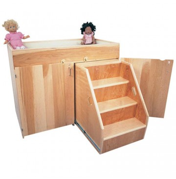 Strictly For Kids Deluxe Changing Table with Steps, Laminate, 45''w x 24''d x 36''h - SK402-360x365.jpg