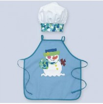 Snowman Child Apron with chef hat