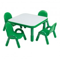 Angeles Baseline Square Table & 4 Chair Set - Green