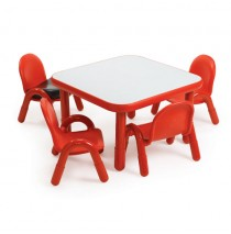 Angeles Baseline Square Table & 4 Chair Set - Red