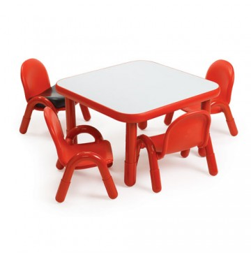 Angeles Baseline Square Table & 4 Chair Set - Red - White-Table-Red-Chairs-360x365.jpg