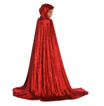 Adult Cloak Long Red - Full Length Velvet Cape