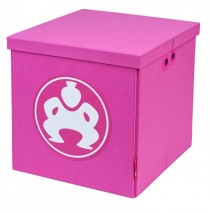 "Folding Toy Box Furniture Cube 14"" Pink"