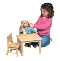 Guidecraft Doll Table and Chair Set - Natural