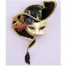 Venetian Mask - 1/2 Face White w/ Black Hat   -One Size
