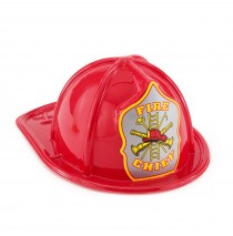 Child Size Red Plastic Fire Chief Hat -""