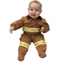 Jr. Fire Fighter Suit Tan Infant Costume -6 to 12 Months