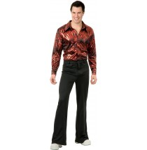 Disco Shirt - Flame Hologram Adult Plus Costume -1X