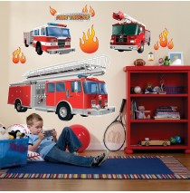 Fire Trucks Giant Wall Decals -""