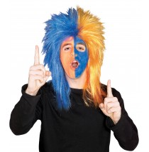 Blue and Orange Sports Fanatic Wig -""
