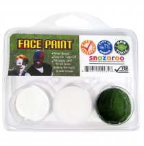 """White and Dark Green Fan Face Paint -"""""""