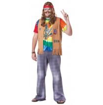 Tie-Dye Hippie Adult Plus Costume -Plus