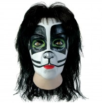 KISS Catman Latex Full Mask With Hair (Adult) -One-Size