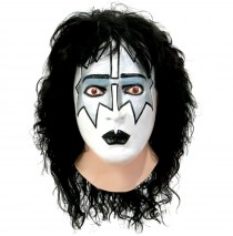 KISS - Spaceman Latex Full Mask With Hair Adult -One-Size