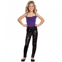 Kids Black Sequin Leggings -Medium/Large