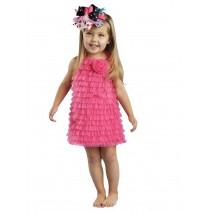 """Hot Pink Chiffon Ruffle Dress -"""""""