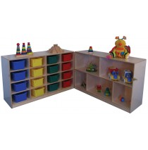 Mainstream Fold 'n Lock Storage Unit w/Cubbies for 16 on casters, 96''w x 15''d x 30''h when fully open