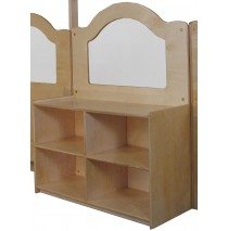 "Mainstream Wave Design Room Divider w/24''h Storage w/2 Shelves & Dividers, 36""w x 15-3/4""d x 52""h"
