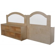 "Mainstream Wave Design Room Divider w/24''h Storage w/2 Shelves & Dividers, 48""w x 15-3/4""d x 52""h"