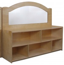 "Mainstream Wave Design Room Divider w/24''h Storage w/2 Shelves & Dividers, 60""w x 15-3/4""d x 52""h"